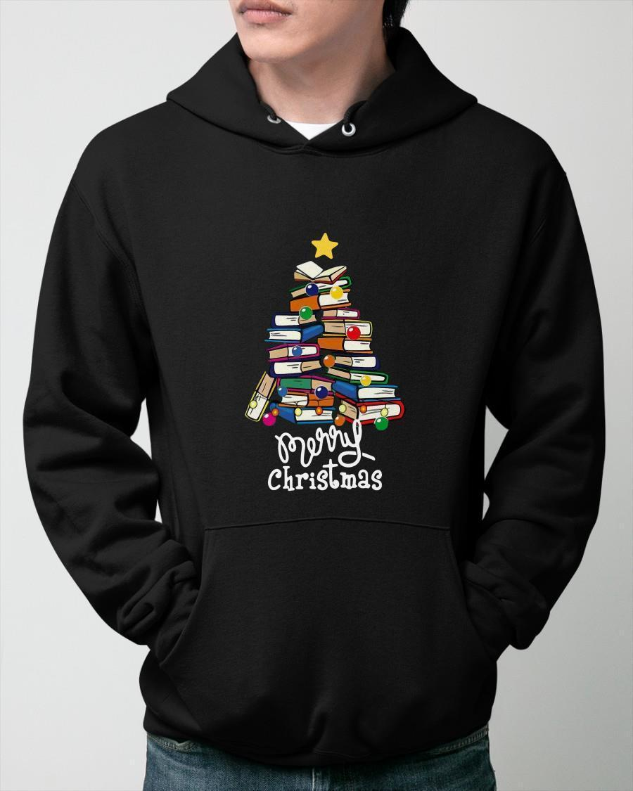 Books Tree Merry Christmas Hoodie