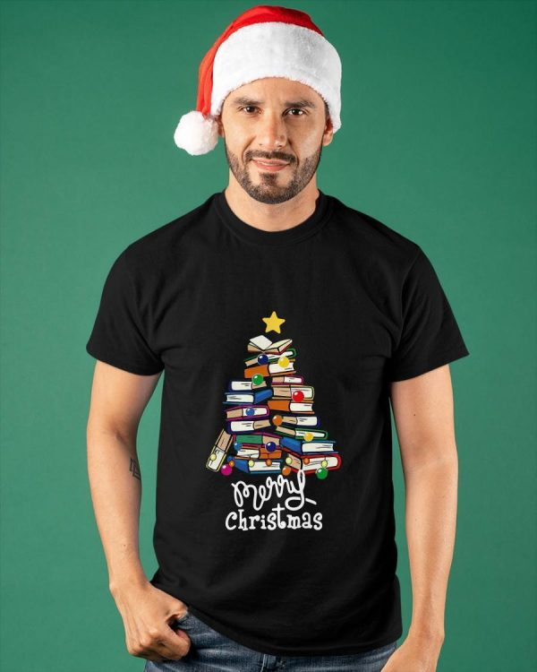 Books Tree Merry Christmas Shirt