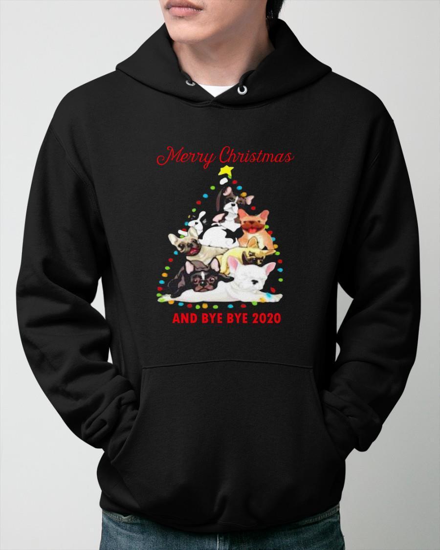 Bulldog Tree Merry Christmas And Bye Bye 2020 Hoodie