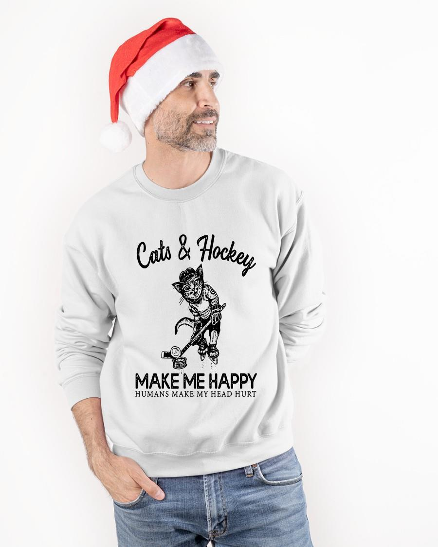 Cats And Hockey Make Me Happy Humans Make My Head Hurt Longsleeve