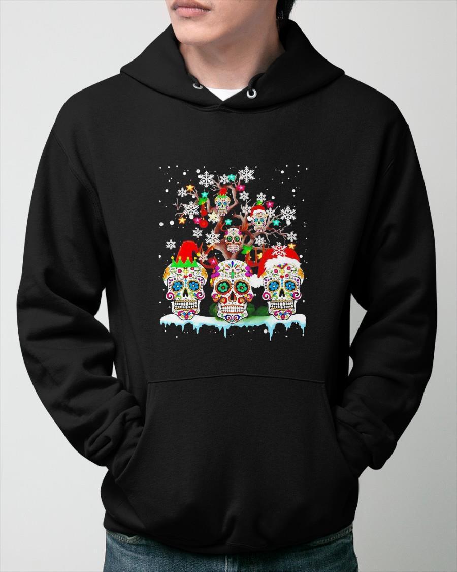 Christmas Funny Santa Sugar Skull On Tree Hoodie