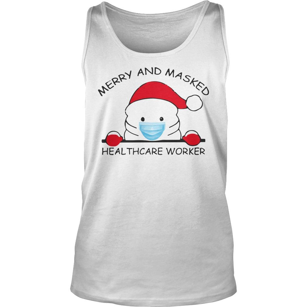 Christmas Merry And Masked Healthcare Worker Tank Top