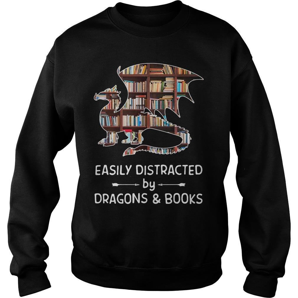 Easily Distracted By Dragons And Books Sweater