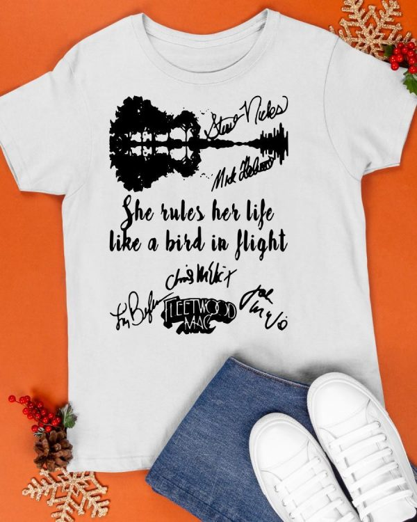 Fleetwood Mac She Rules Her Life Like A Bird In Flight Signatures Shirt