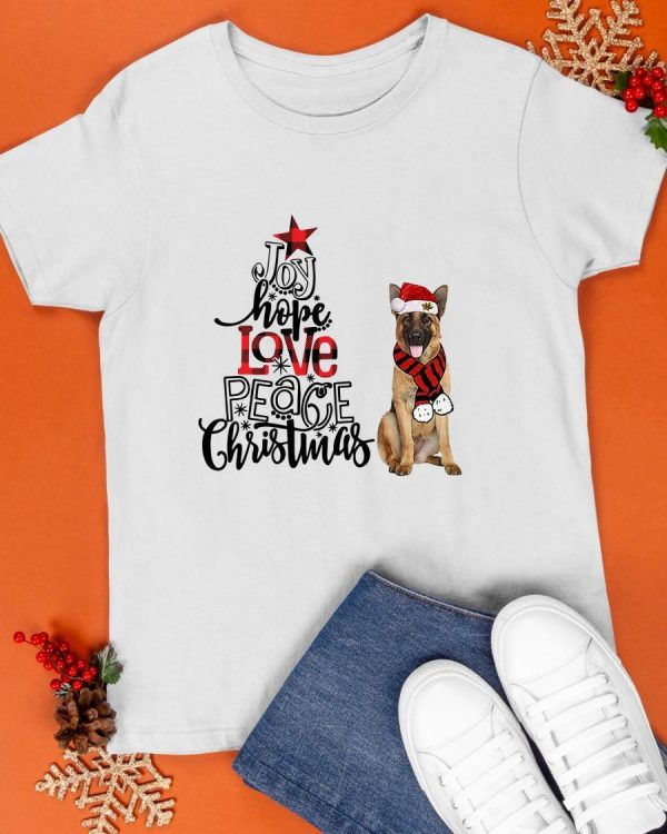 German Shepherd Joy Hope Love Peace Christmas Shirt