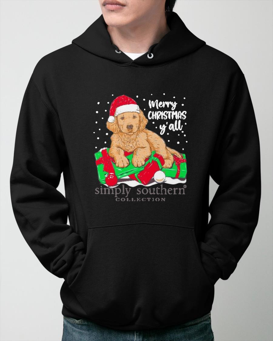Golden Retriever Merry Christmas Y'all Simply Southern Collection Hoodie