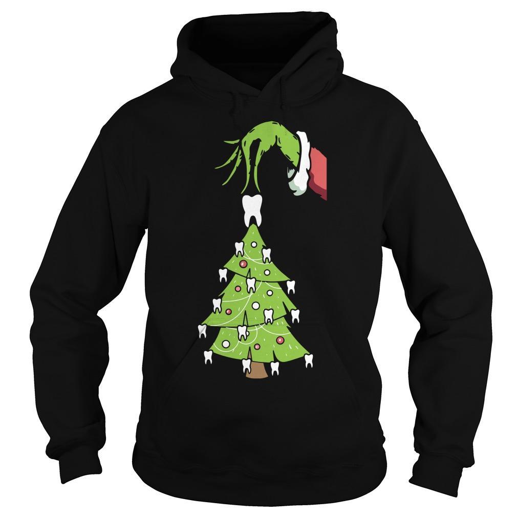 Grinch Christmas Teeth Tree Hoodie