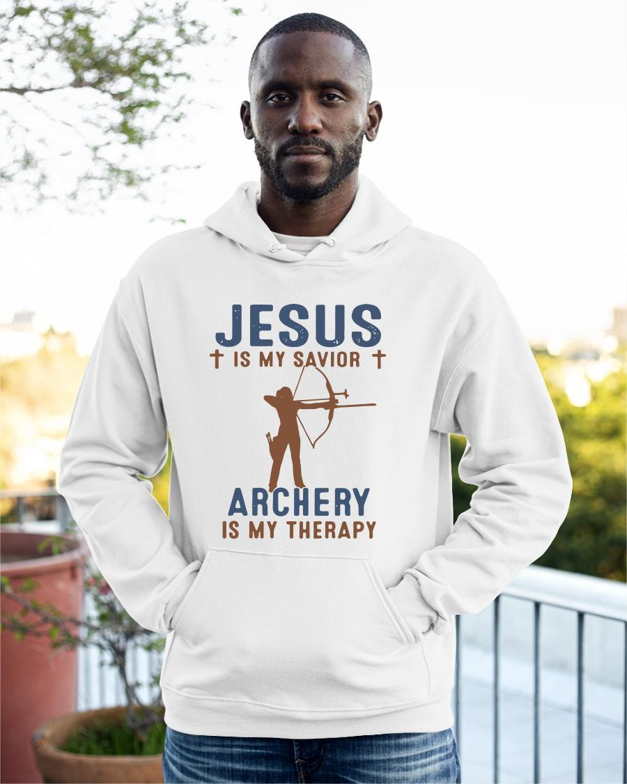 Jesus Is My Savior Archery Is My Therapy Hoodie