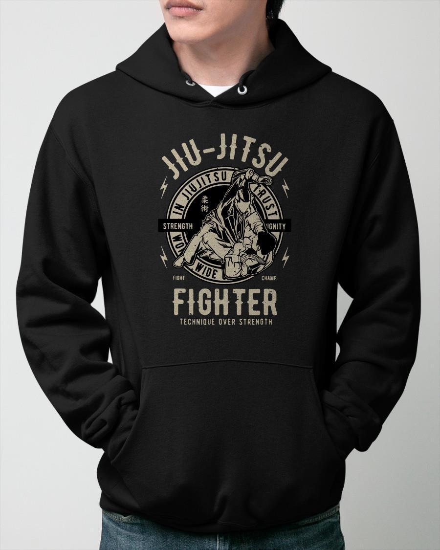 Jiu Jitsu Fighter Technique Over Strength Hoodie
