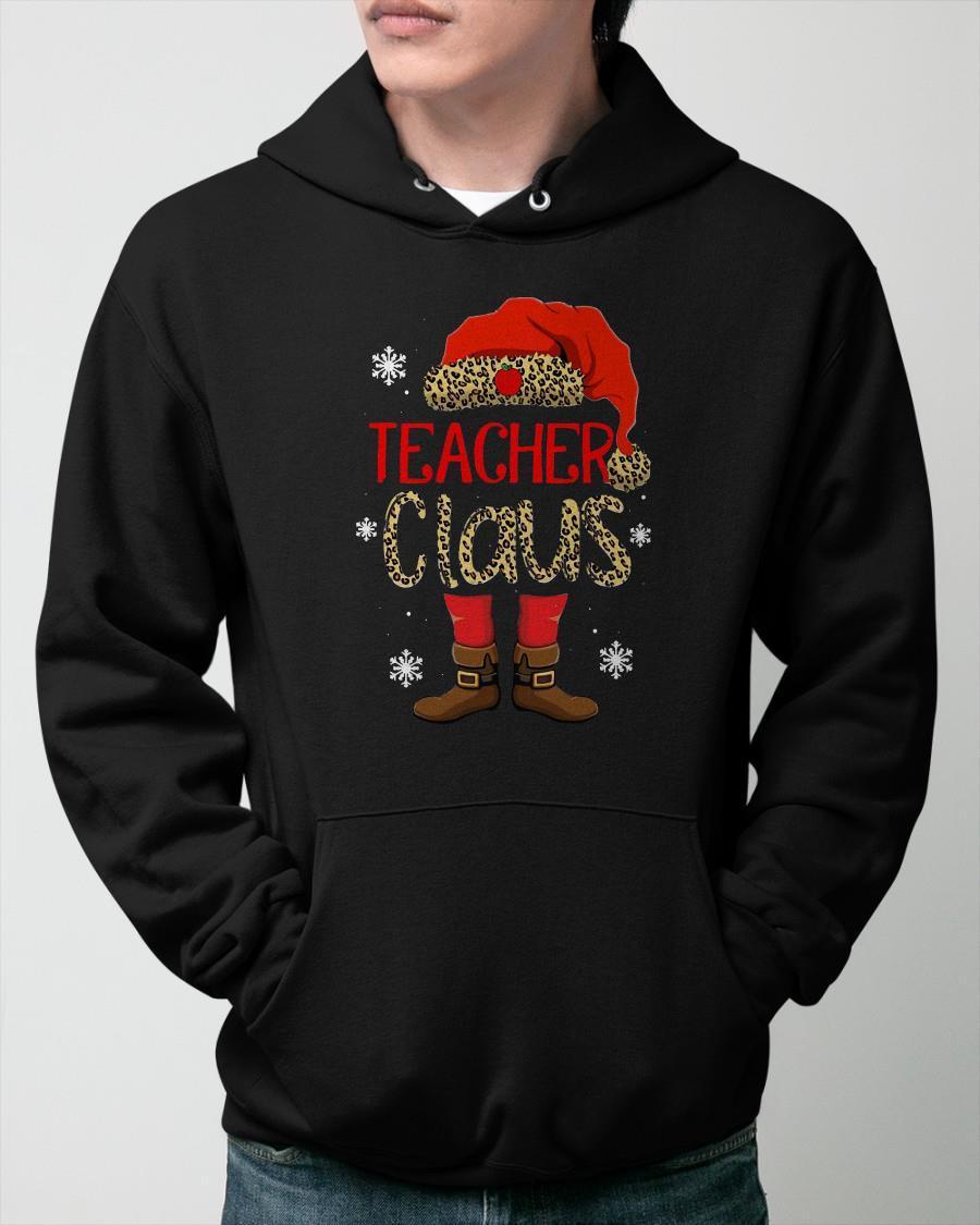 Leopard Print Teacher Claus Hoodie