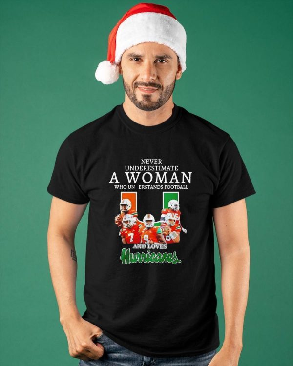 Never Underestimate A Woman Who Understands Football And Loves Hurricanes Shirt
