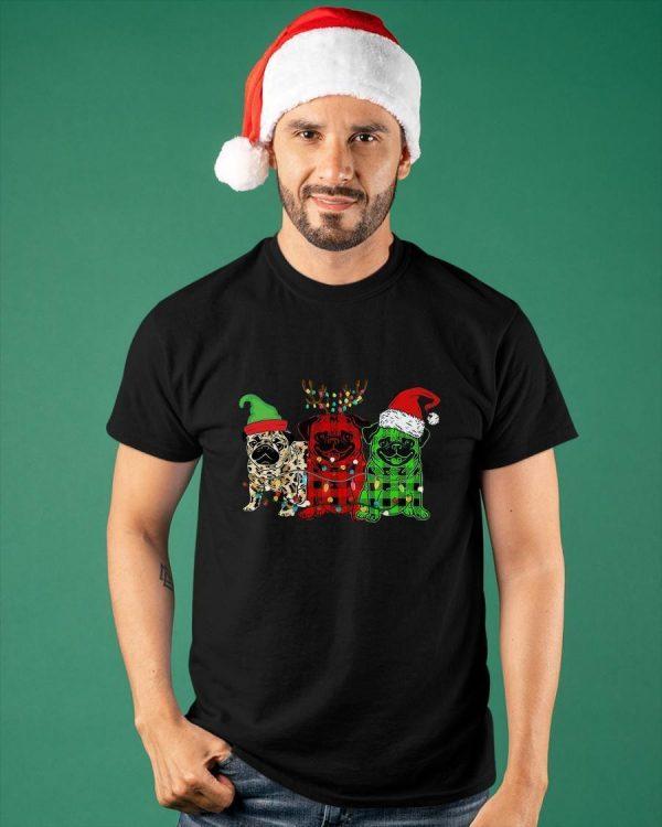 Pug Elf Reindeer Santa Christmas Lights Shirt