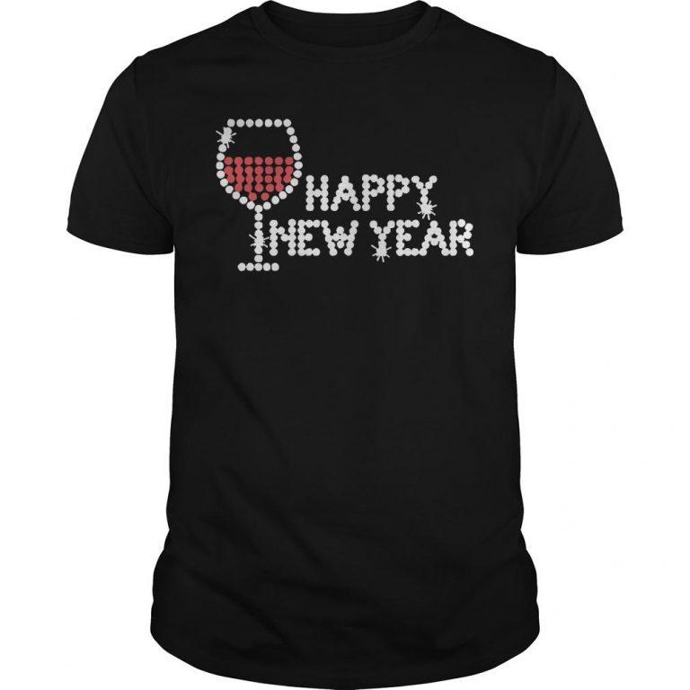Rhinestone Wine Glasses Happy New Year Shirt