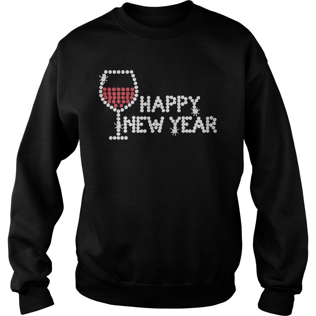 Rhinestone Wine Glasses Happy New Year Sweater