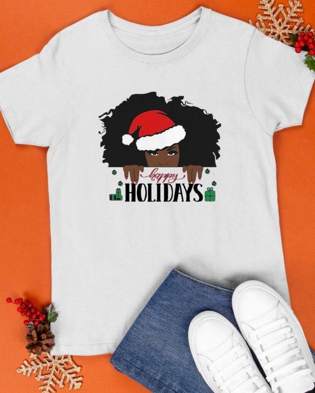 Santa Black Girl Happy Holiday Shirt