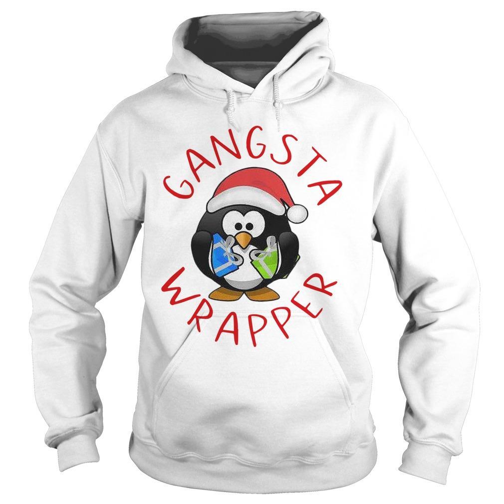 Santa Penguin Hugging Gift Gangsta Wrapper Hoodie