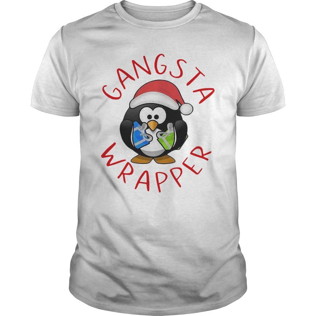 Santa Penguin Hugging Gift Gangsta Wrapper Longsleeve