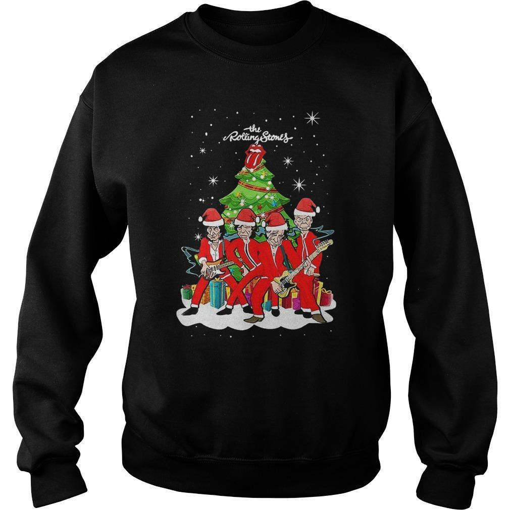 The Rolling Stones Beside Christmas Tree Sweater