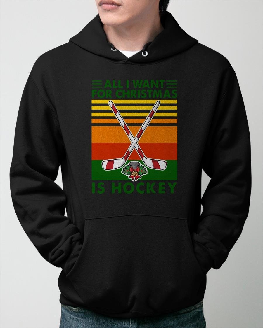Vintage All I Want For Christmas Is Hockey Hoodie