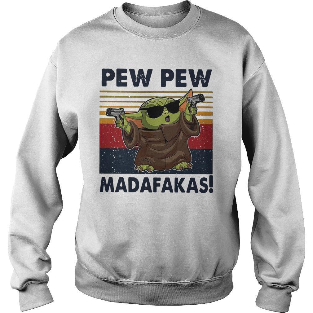 Vintage Baby Yoda Gun Pew Pew Madafakas Sweater