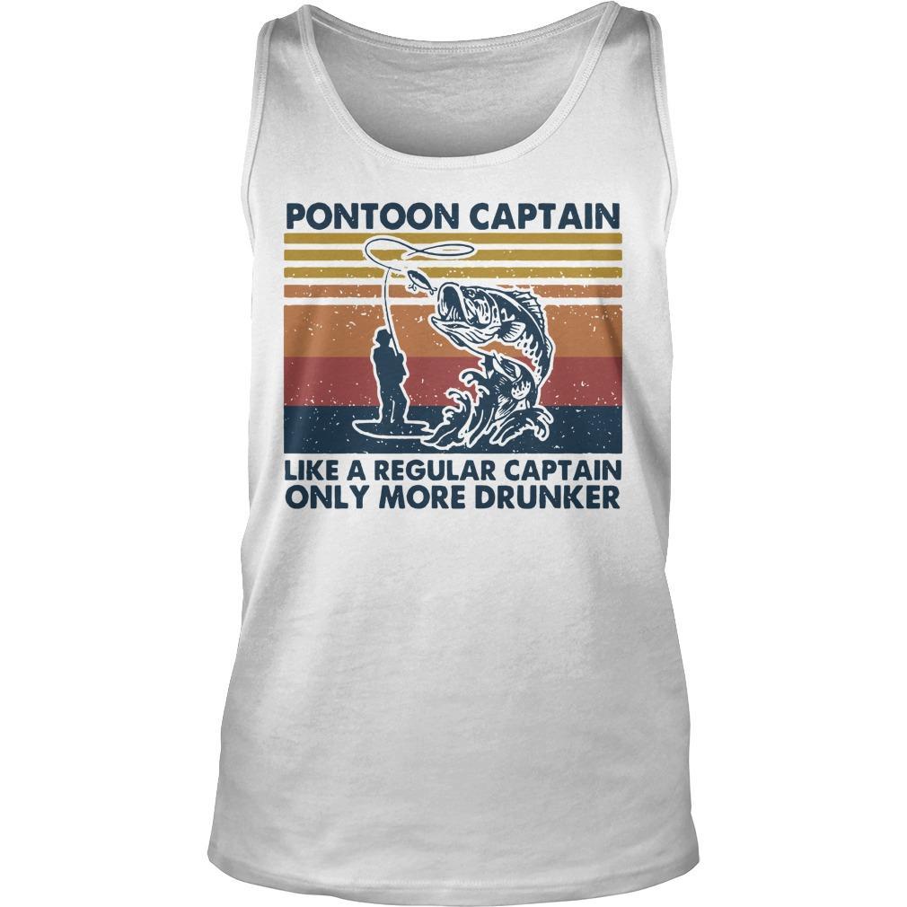 Vintage Fish Like A Regular Captain Pontoon Captain Tank Top