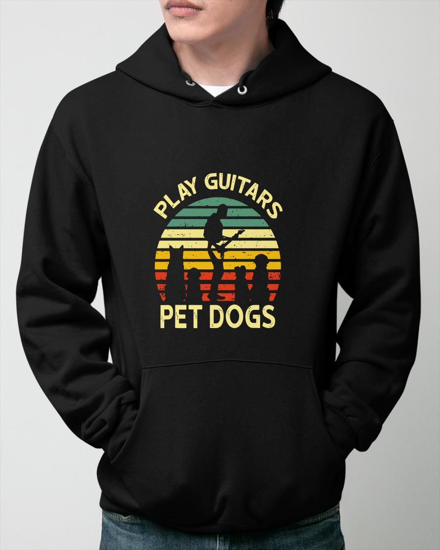Vintage Play Guitars Pet Dogs Hoodie