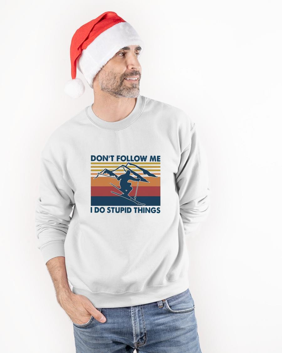 Vintage Skiing Don't Follow Me I Do Stupid Things Sweater