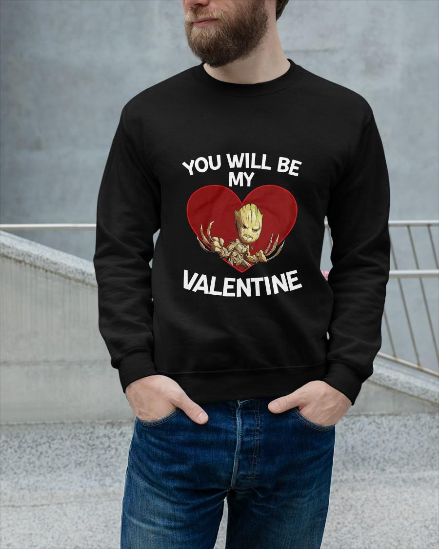 Baby Groot Heart You Will Be My Valentine Longsleeve