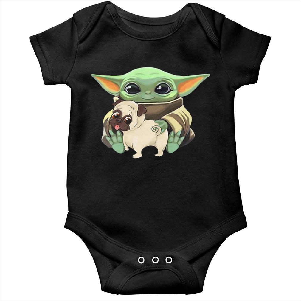 Baby Yoda Hugging Funny Pug Longsleeve
