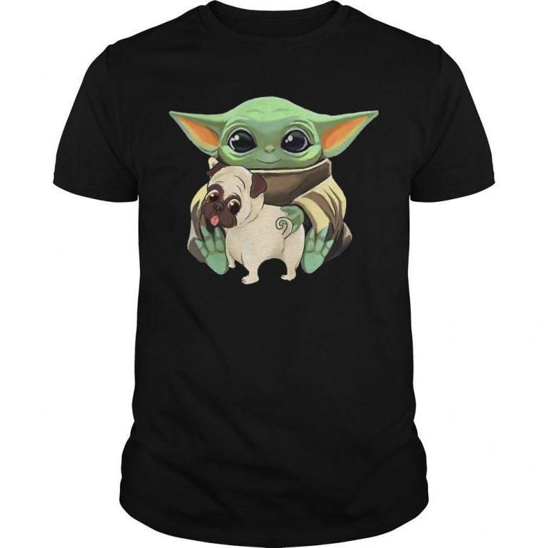 Baby Yoda Hugging Funny Pug Shirt