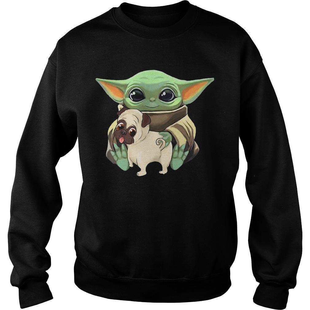 Baby Yoda Hugging Funny Pug Sweater