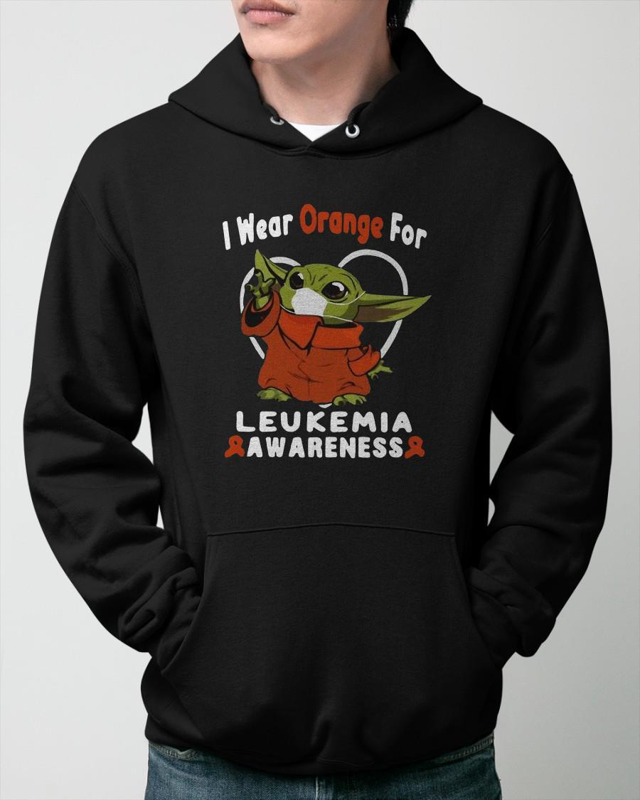 Baby Yoda I Wear Orange For Leukemia Awareness Hoodie