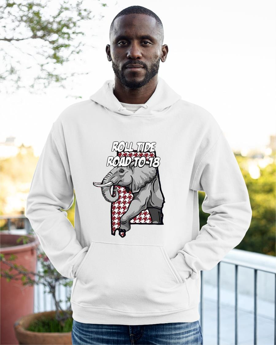 Elephant Roll Tide Road To 18 Hoodie