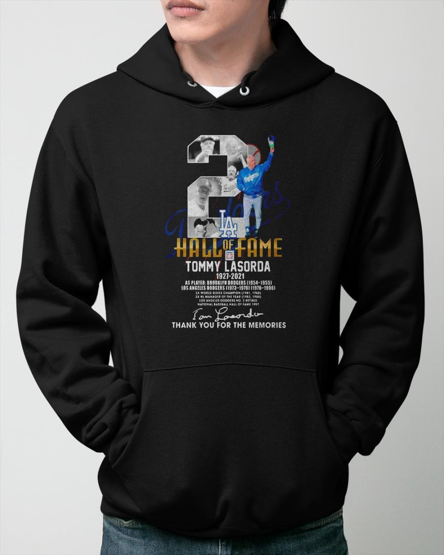 Hall Of Fame Tommy Lasorda 1927 2021 Thank You For The Memories Hoodie