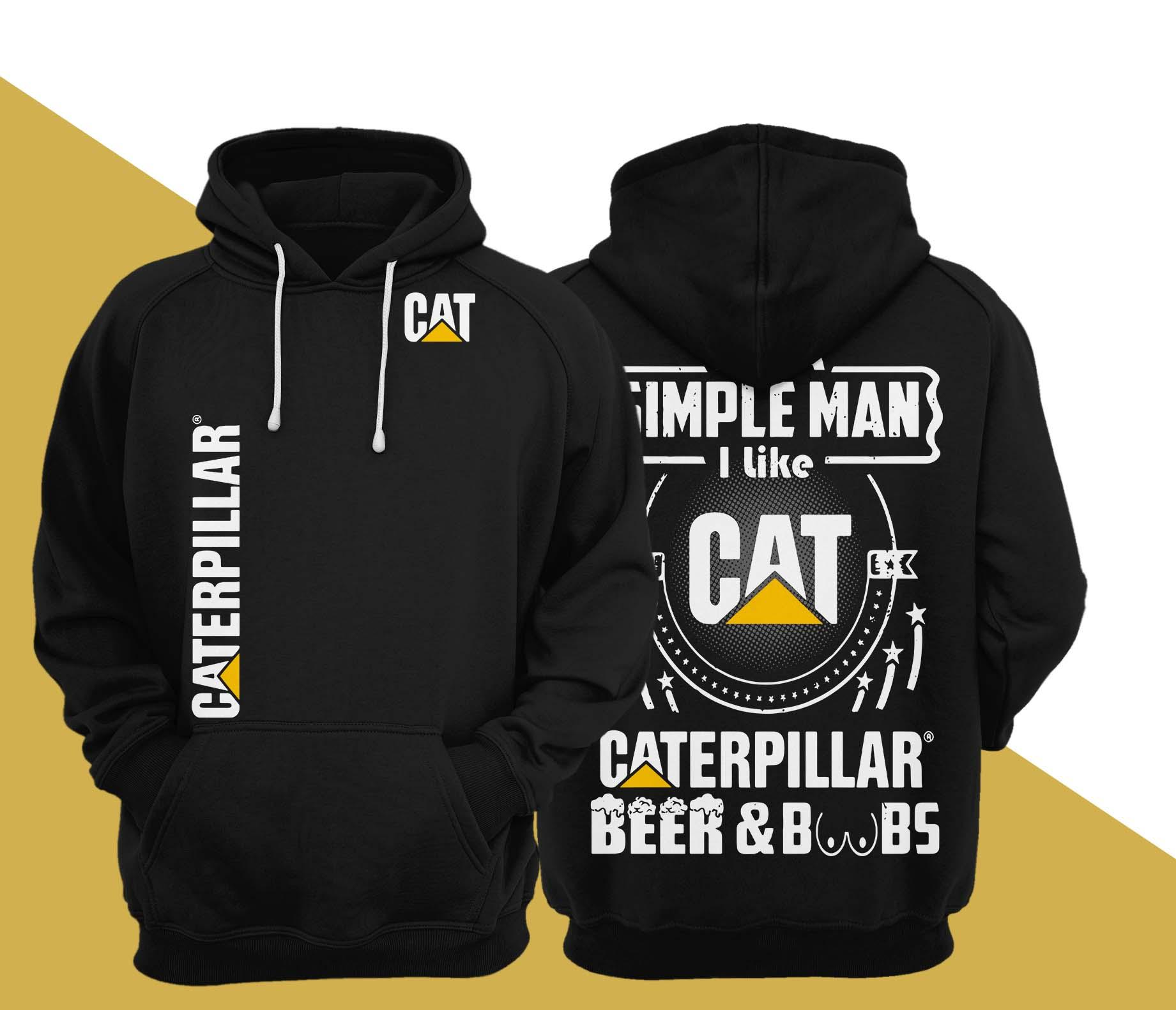 I'm A Simple Man I Like Cat Caterpillar Beer And Boobs Hoodie
