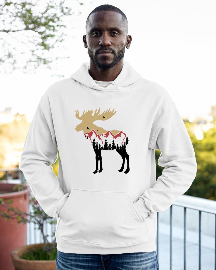 Mountain Moose Tree Reindeer Hoodie