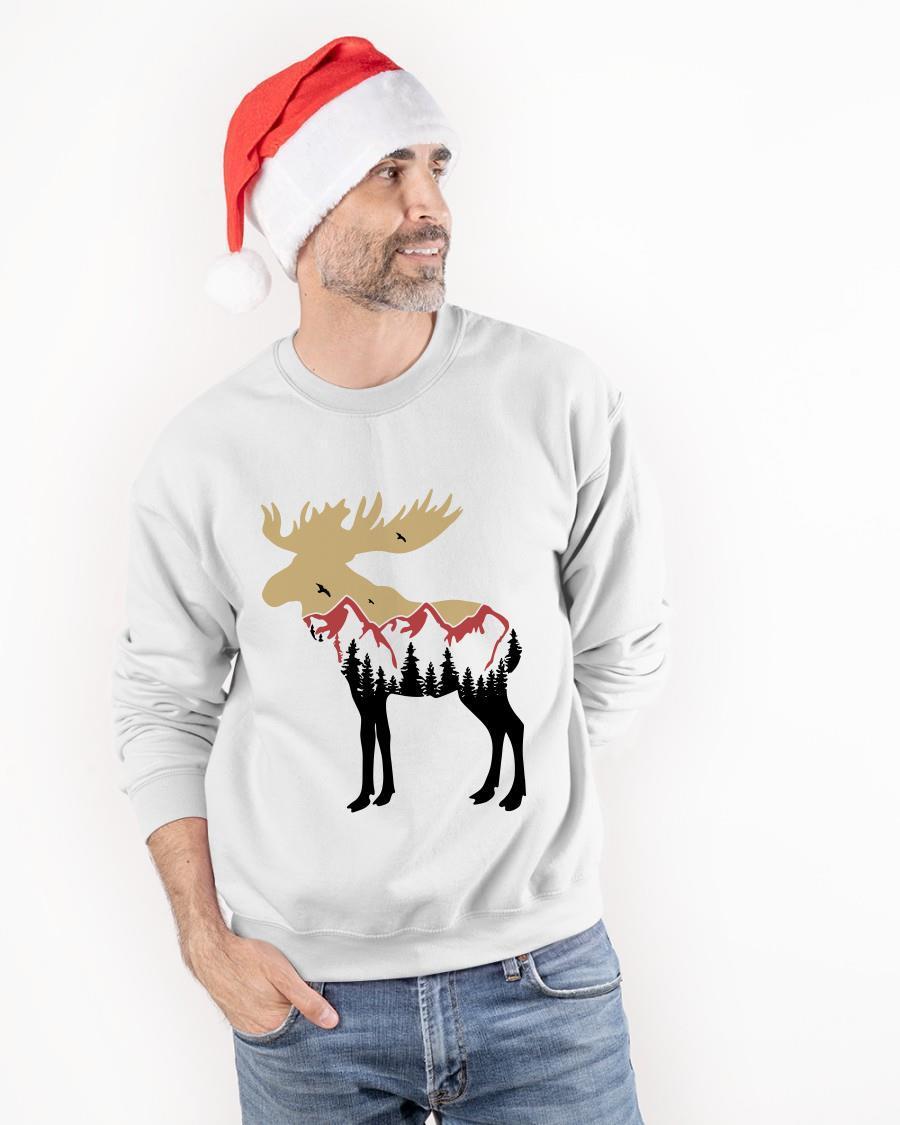 Mountain Moose Tree Reindeer Sweater