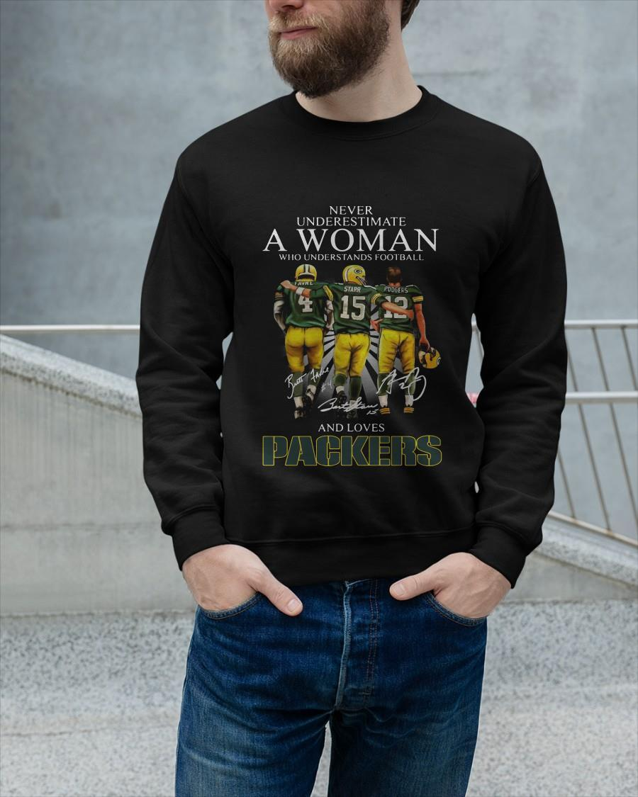 Never Underestimate A Woman Who Understands Football And Loves Packers Longsleeve
