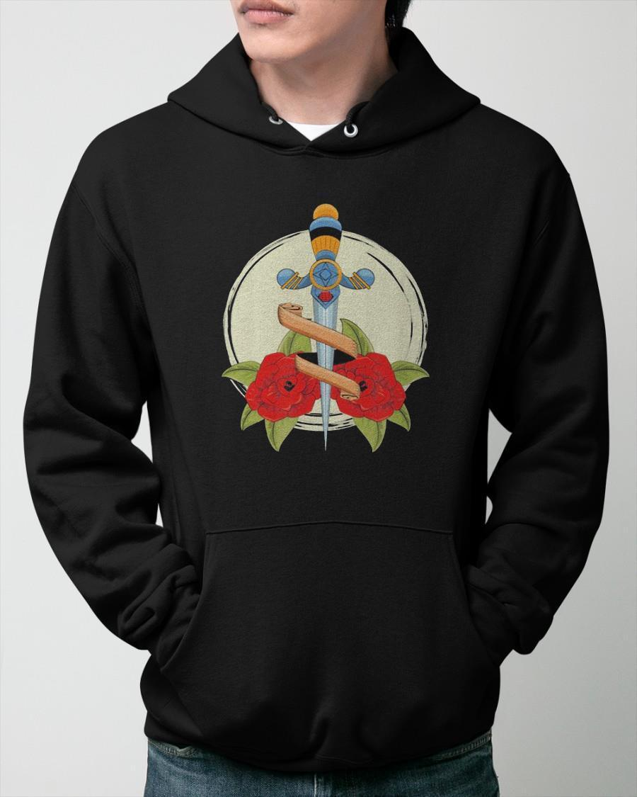 Old School Badass Traditional Tattoo Roses and Sword Hoodie