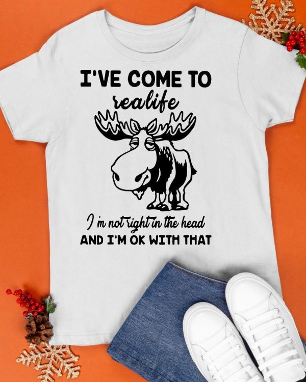 Reindeer I've Come To Realife I'm Not Right In The Head Shirt