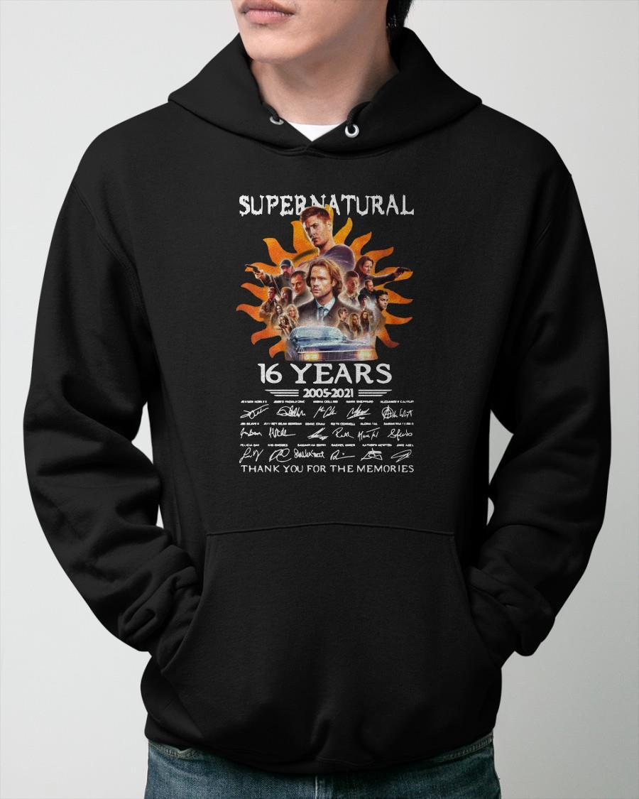 Signatures Supernatural 16 Years 2005 2021 Thank You For The Memories Hoodie
