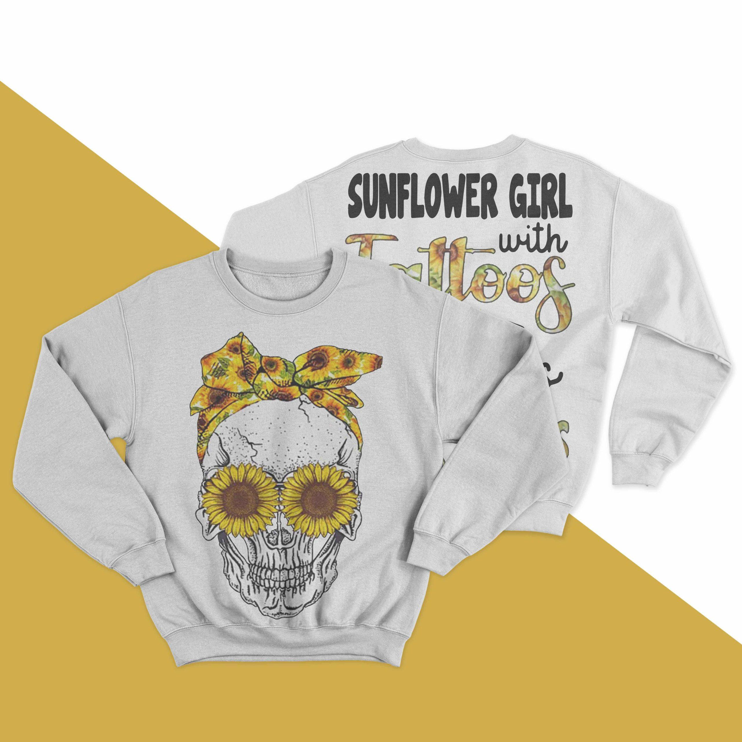 Skull Sunflower Girl With Tattoos Pretty Eyes And Thick Thighs Sweater