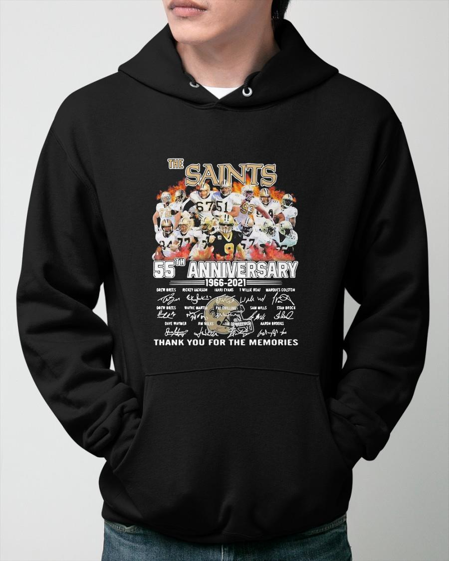 The Saints 55th Anniversary 1966 2021 Thank You For The Memories Signatures Hoodie