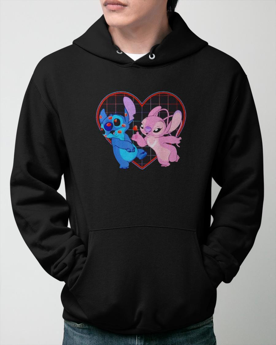 Valentine' Day Stitch And Angel Loving Hoodie