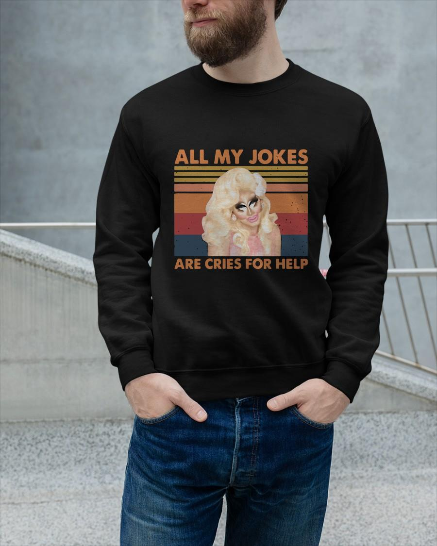 Vintage All My Jokes Are Cries For Help Sweater
