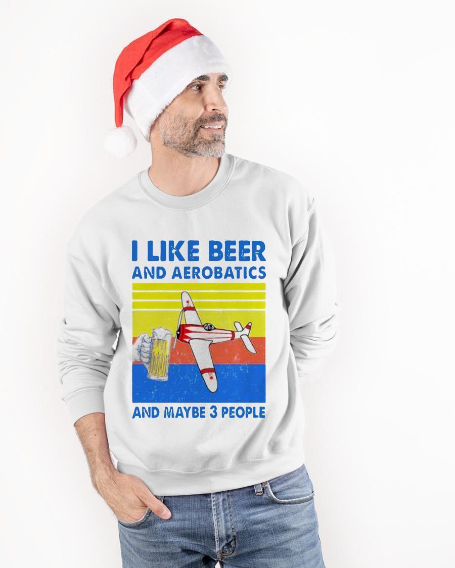 Vintage I Like Beer And Aerobatics And Maybe 3 People Sweater