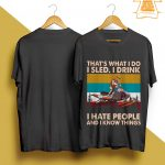 Vintage Snowmobile That's What I Do I Sled I Drink I Hate People Shirt