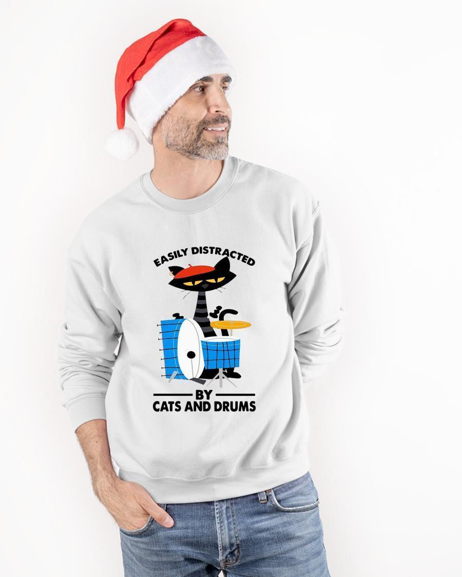 Drummer Easily Distracted By Cats And Drums Sweater