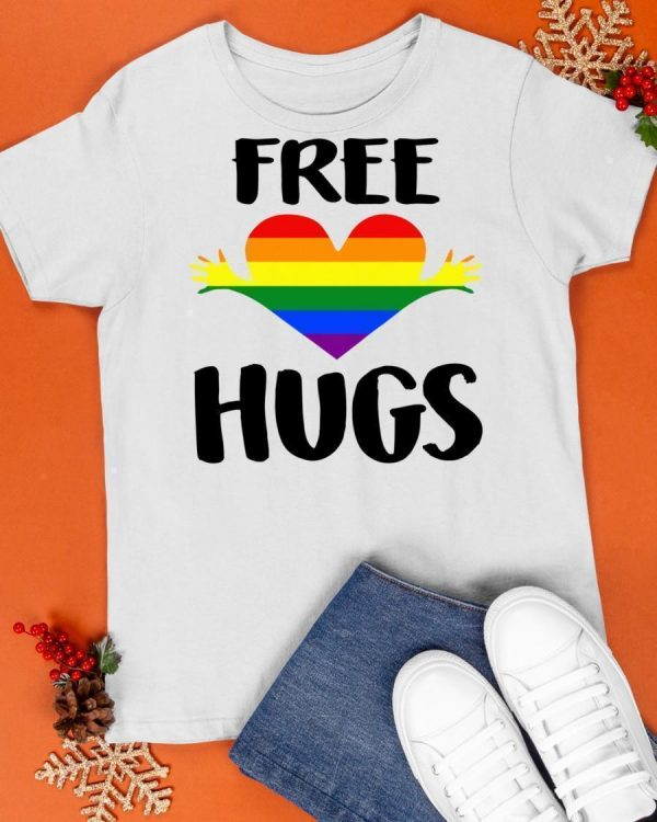 Free Hugs Gay Pride Rainbow Flag Lgbt Heart Shirt