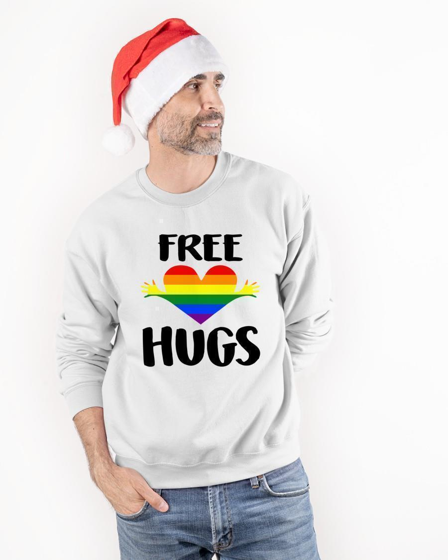 Free Hugs Gay Pride Rainbow Flag Lgbt Heart Sweater